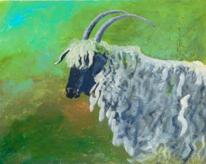 """Goat"" original painting by Gail Shive"