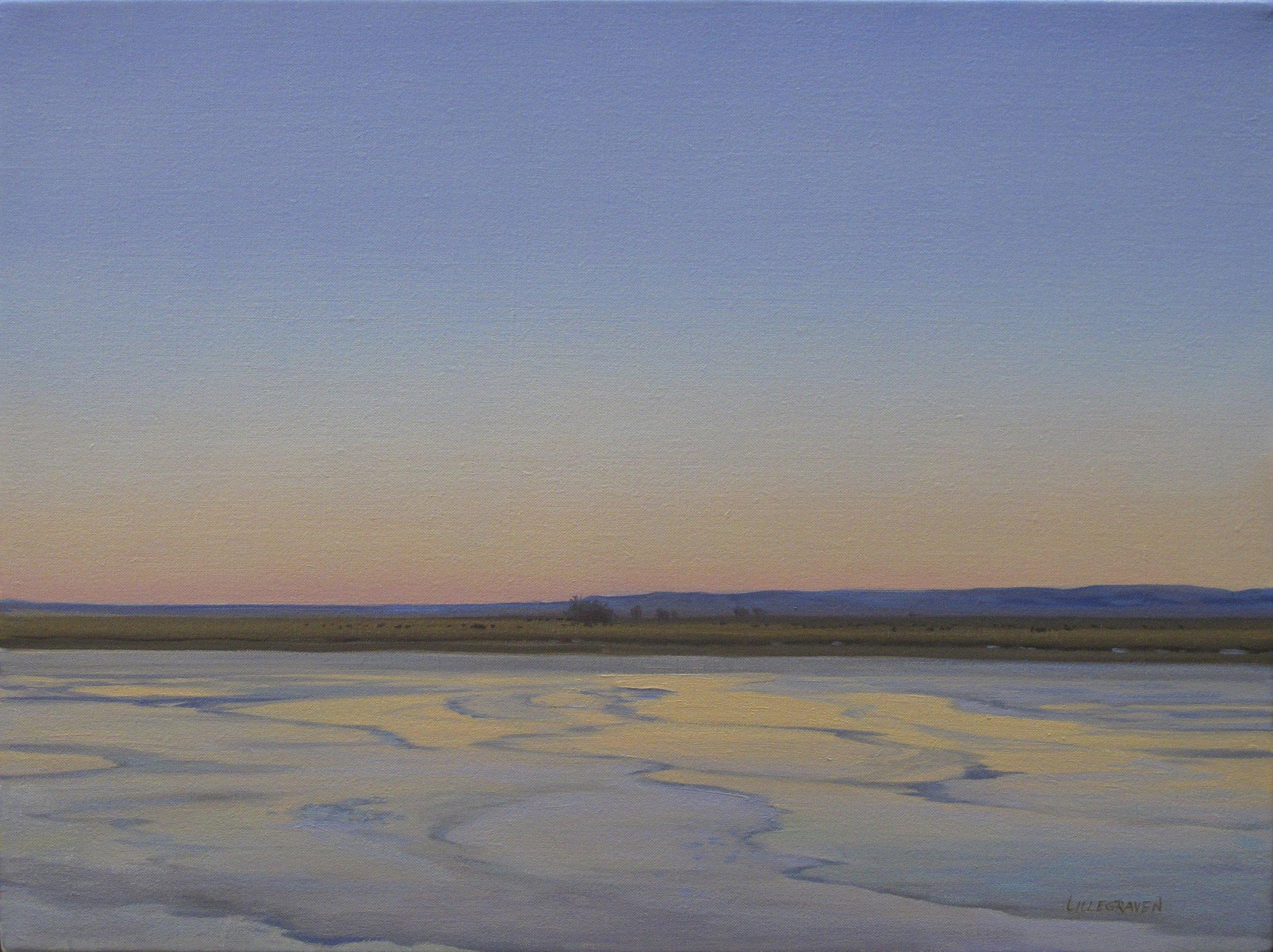 """""""Frozen Prairie Pond"""" original painting by Linda Lillegraven"""