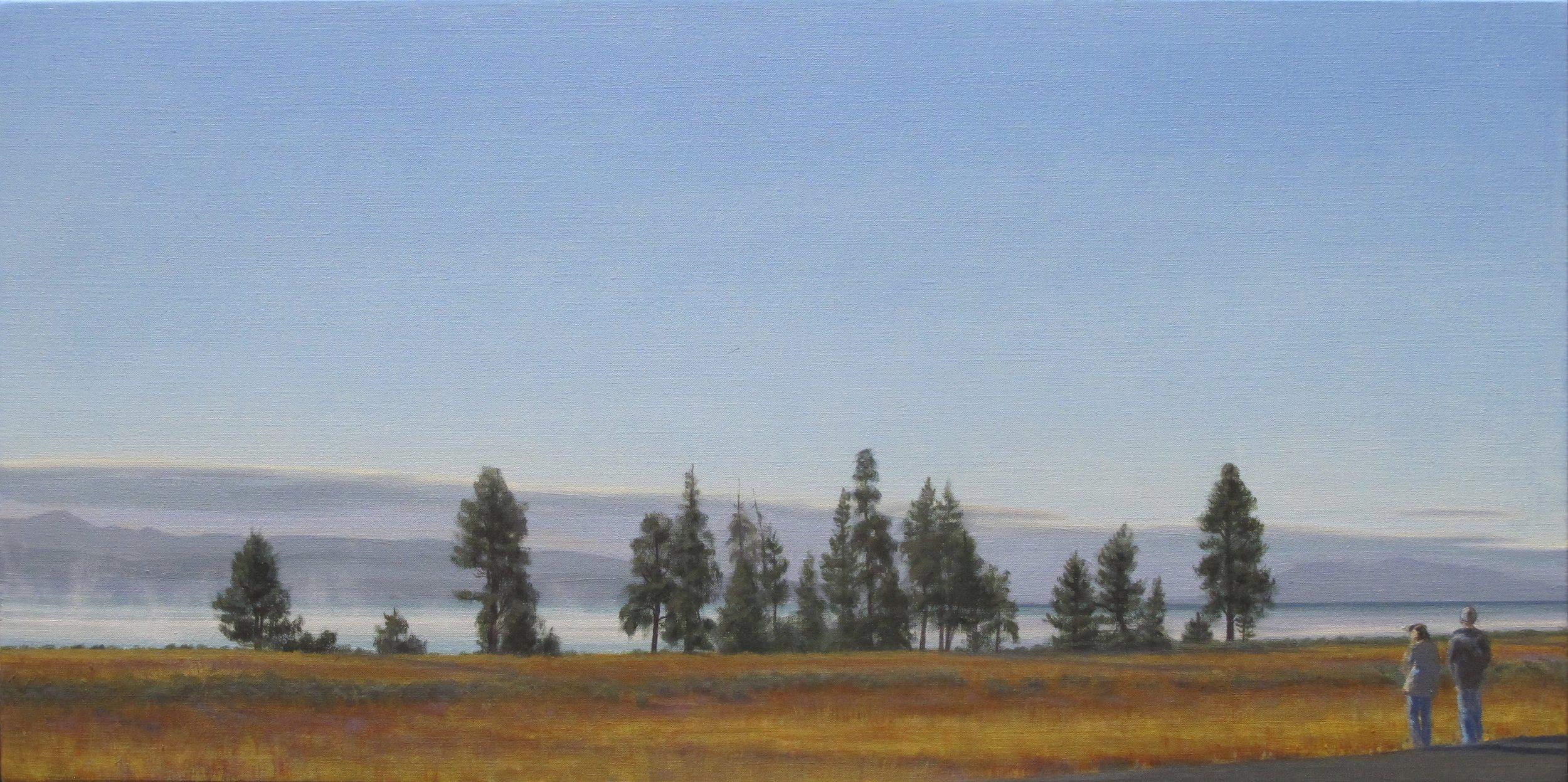 """Tourists Below Lake Lodge"" original painting by Linda Lillegraven"