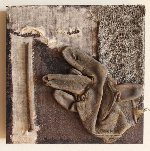 """""""Remnants 2"""", 2018, wood, bulap, linen, found objects, acrylic, 10 x 10 inches by Wendy Bredehoft"""