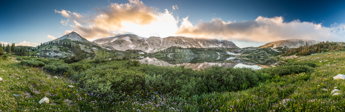 """""""The Snowy Range Mountains Sunset, Medicine Bow National Forest, Wyoming Panoramic,"""" 20x60, Fine Art Photograph on Metal by Allison Pluda / Seneca Creek Studios"""