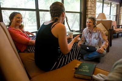 """Brothers"" Co-Writers Britney Pfad and Meghan Counihan with Mary Gauthier at a Songwriting With Soldiers Retreat."