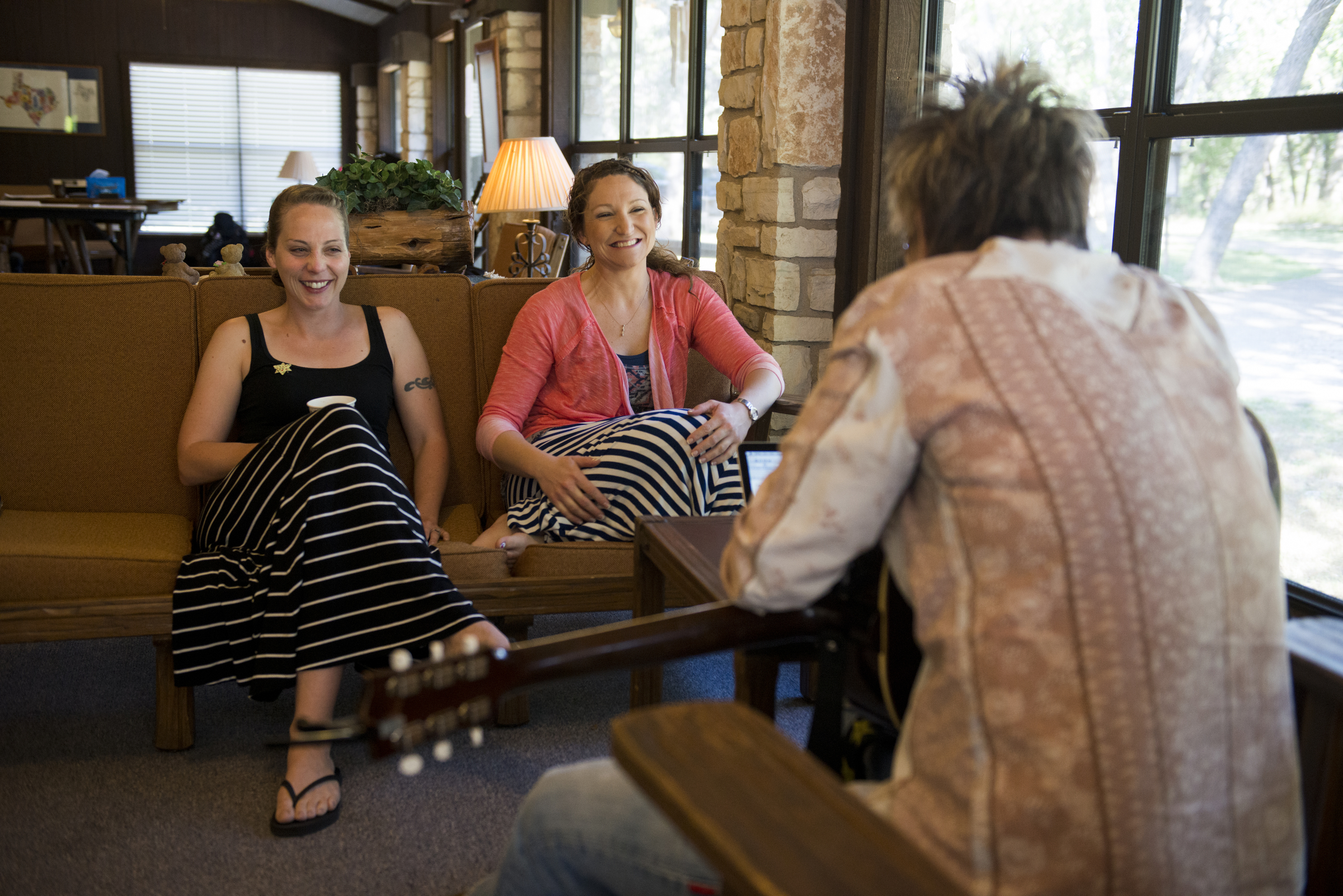 """Brothers"" Co-Writers and Iraq War Veterans Meghan Counihan and Britney Pfad with Mary Gauthier at a Songwriting With Soldiers Retreat."