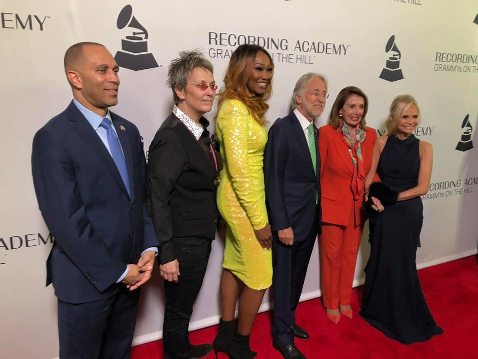 L to R: Hakeem Jeffries (D-NY), Mary Gauthier, Yolanda Adams, Neil Portnow (President/CEO of the Recording Academy), Nancy Pelosi (D-California), Kristin Chenoweth