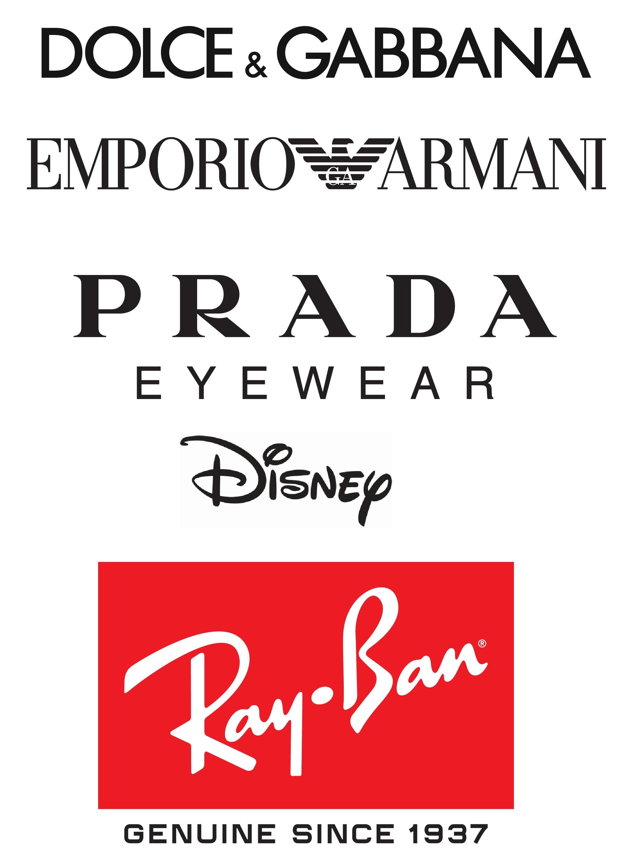 Dolce & Gabbana, Emporio Armani, Prada, Ray Ban