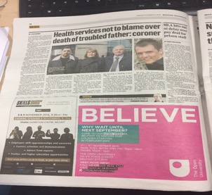 The press ad (left) was used in the Belfast Telegraph