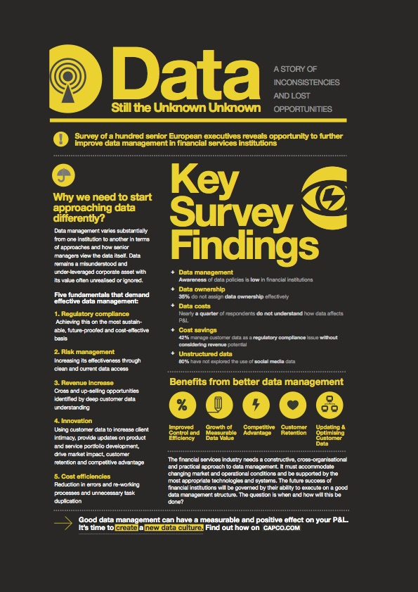 Capco Data Management – A leaflet designed to show the key findings from a data management survey, and details on how to manage data more effectively