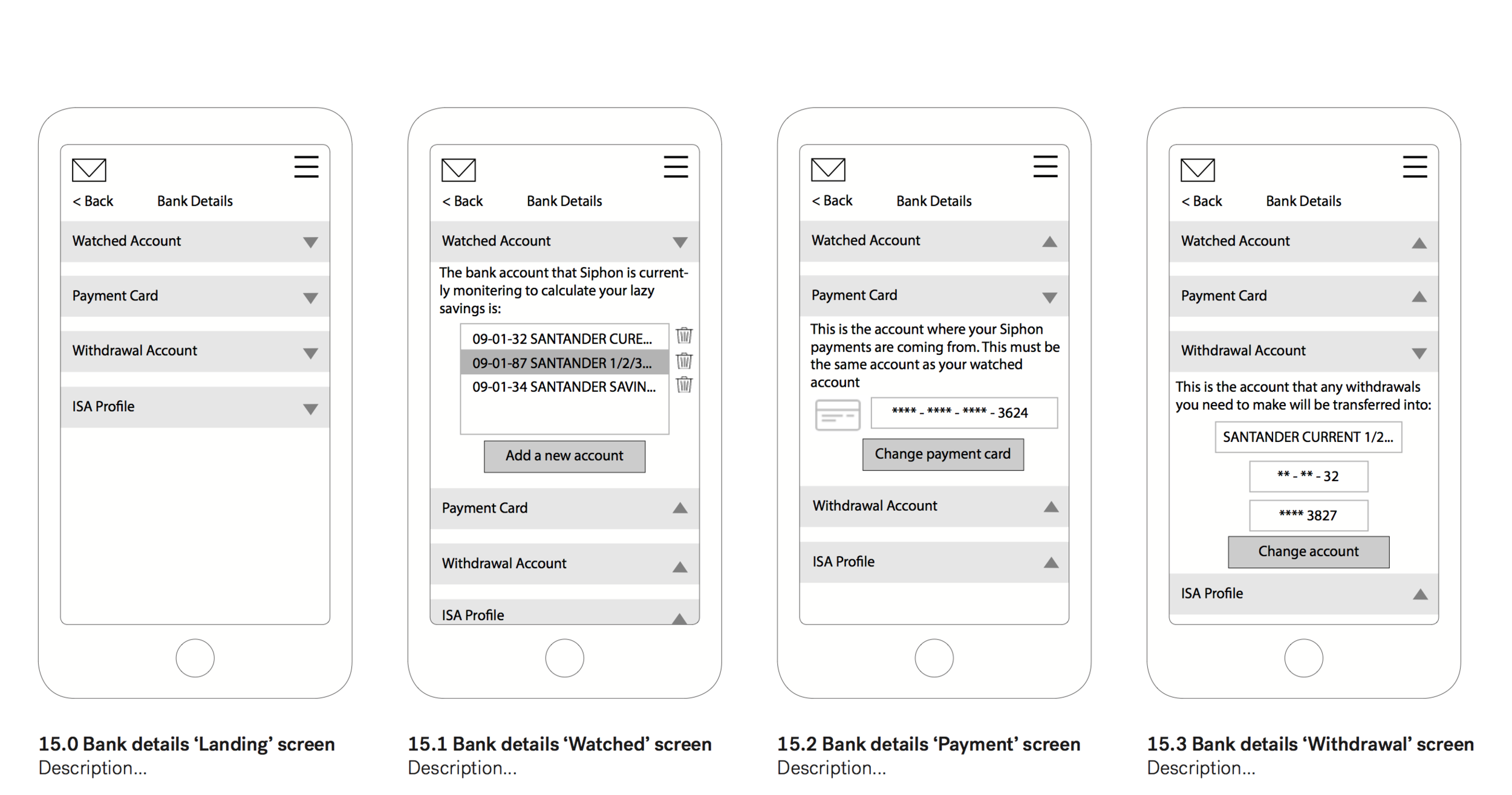 Some wireframes used to show the on-boarding process of Siphon