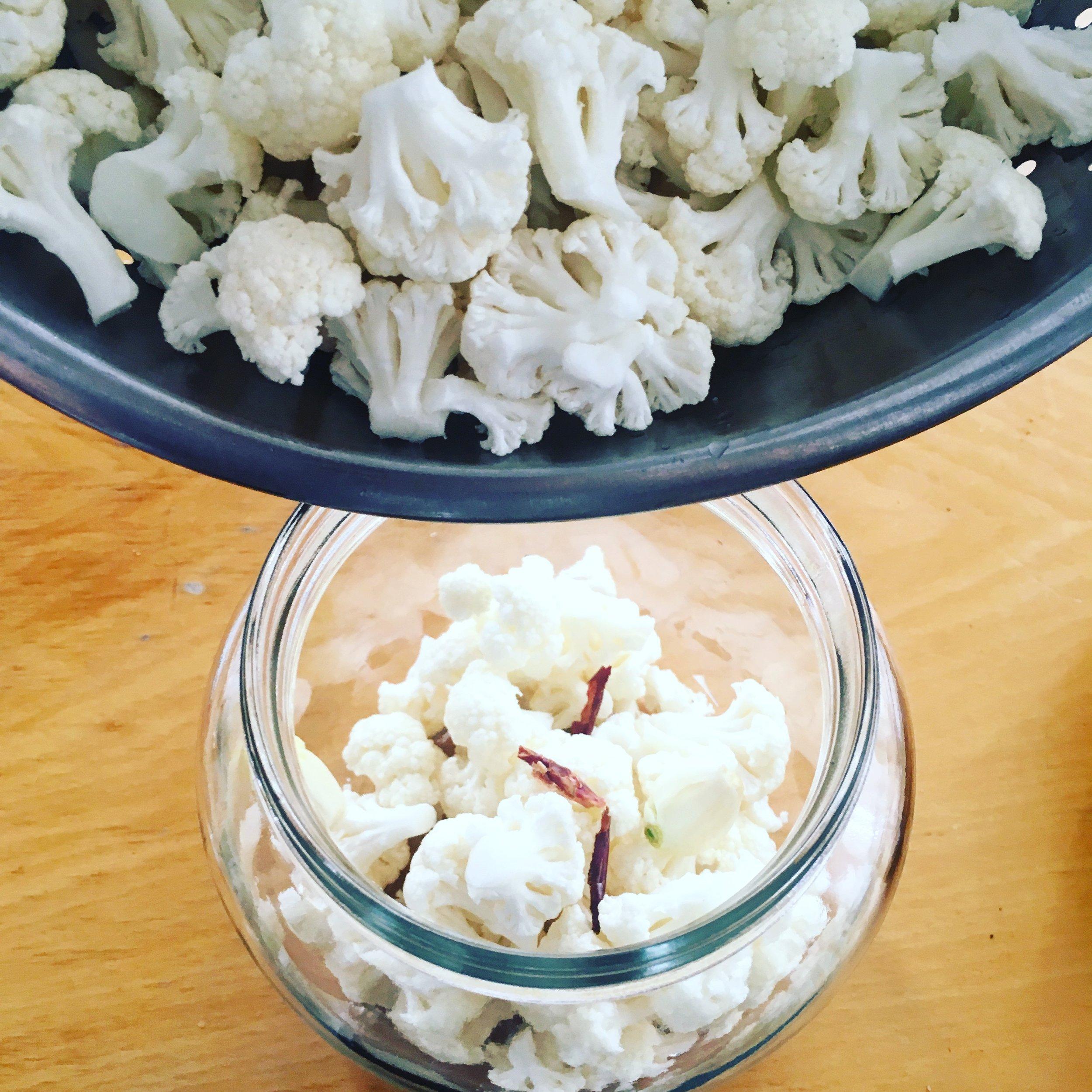 Cauliflower in jar