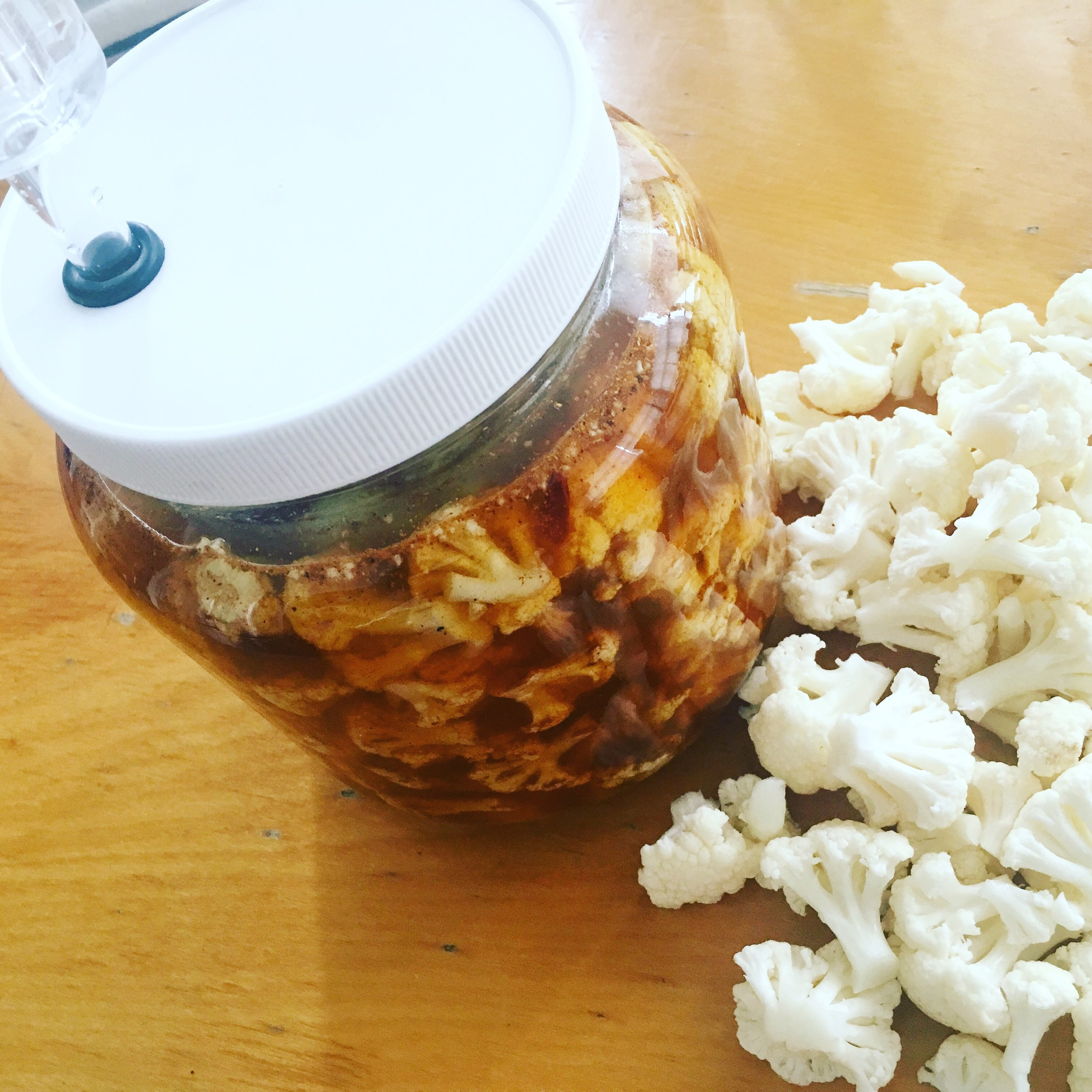 Cauliflower Fermenting in Jar