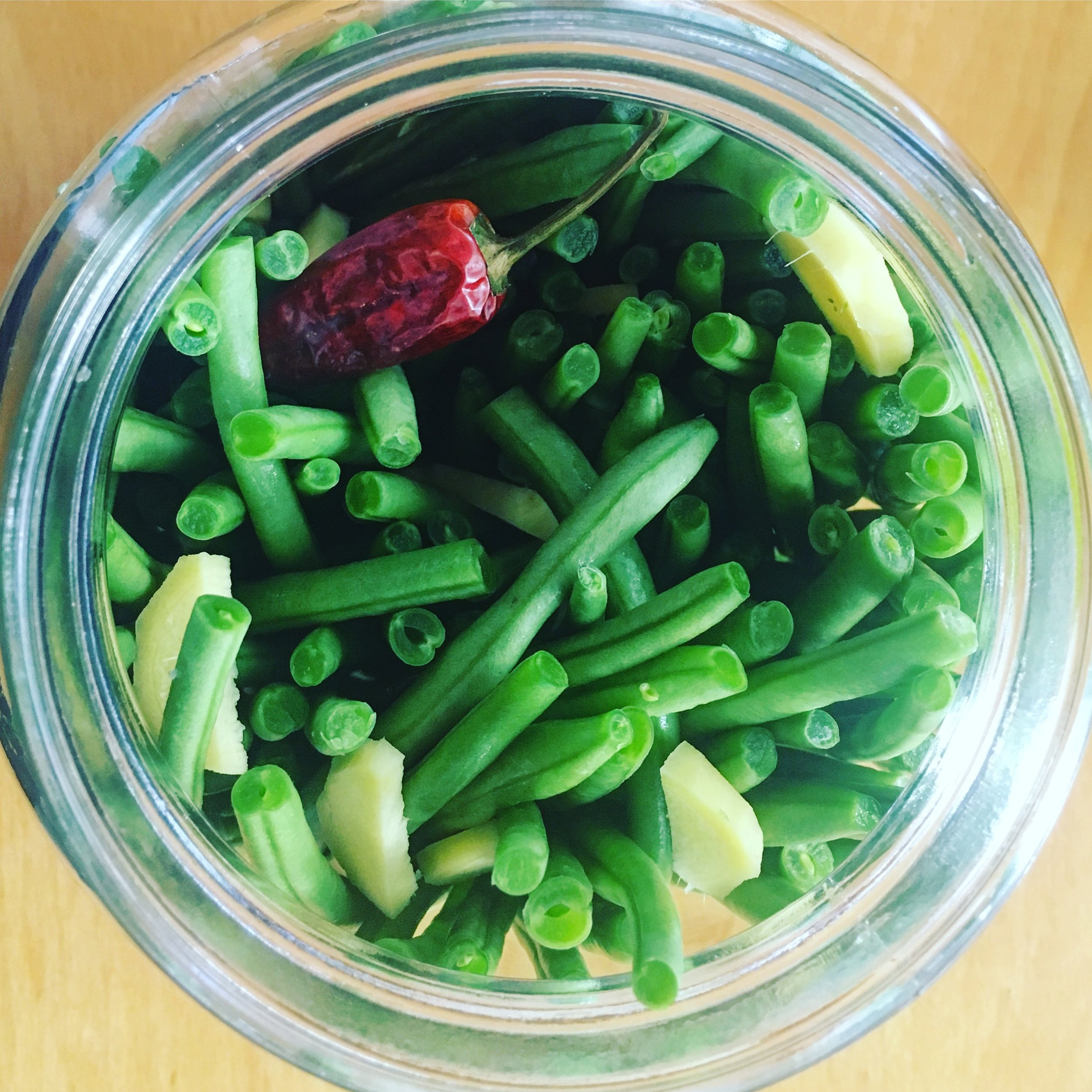 Green Beans Ginger Hot Pepper in Fermentation Jar