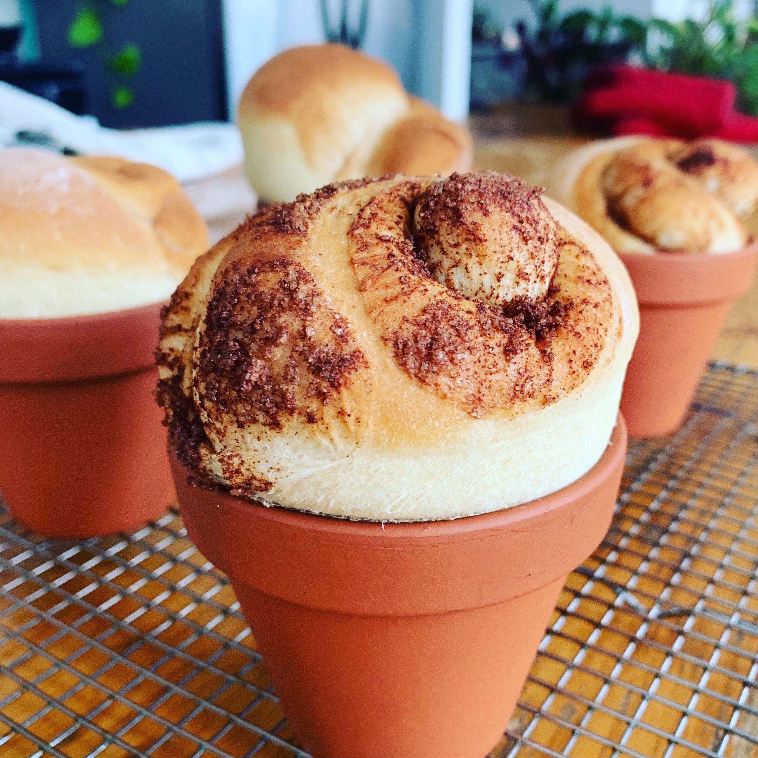 Cinnamon-Swirl Flower Pot Bread