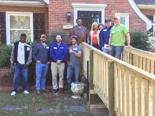 OWNERS AND ROTARY CLUB OF RICHMOND MEMBERS PHILLIP, JAKE, NATHAN, JENNIFER, TODDY, GREG AND PAUL COMPLETING RAMP PROJECT ON LOCATION