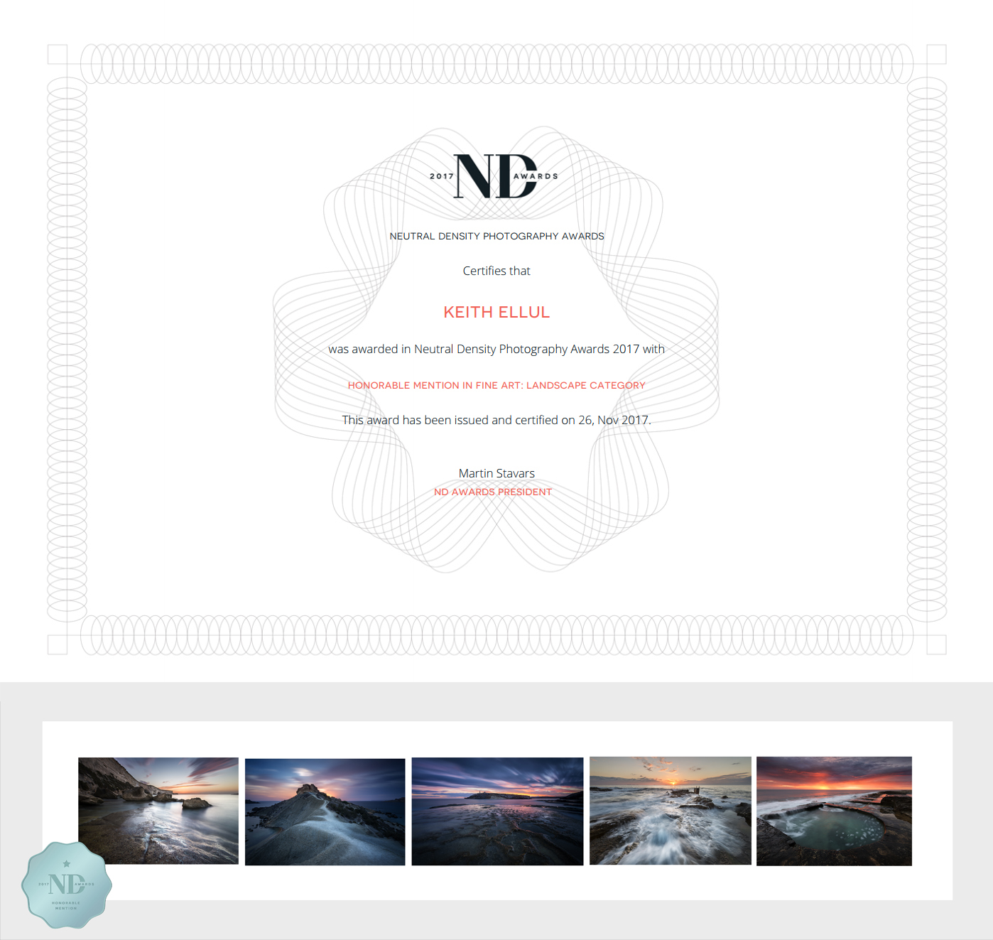 Neutral Density Photography Awards 2017 - Honorable Mention - Fine Art - Landscape Category
