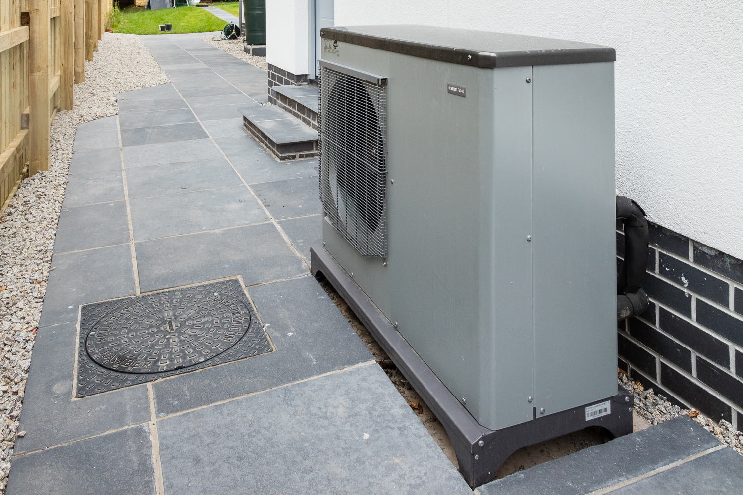Air source heat pump with underfloor heating installation in  East Lothian , Scotland.