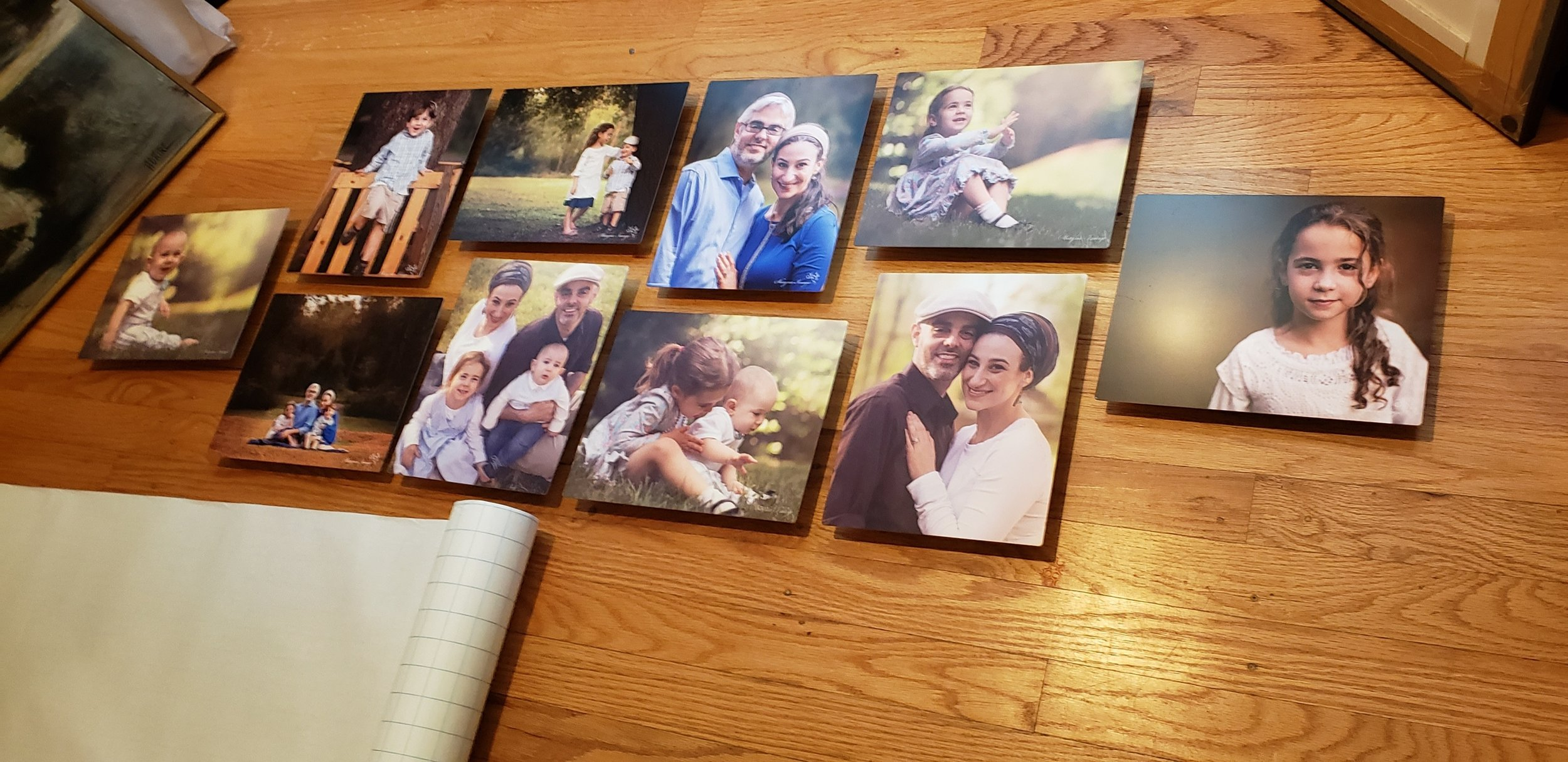 These are images printed on matte standout metals, and assembled from two different family sessions.