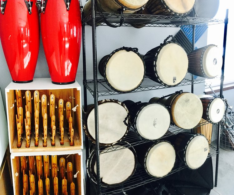 A wide selection of hand drums make a great way to relieve stress and come together as a group.