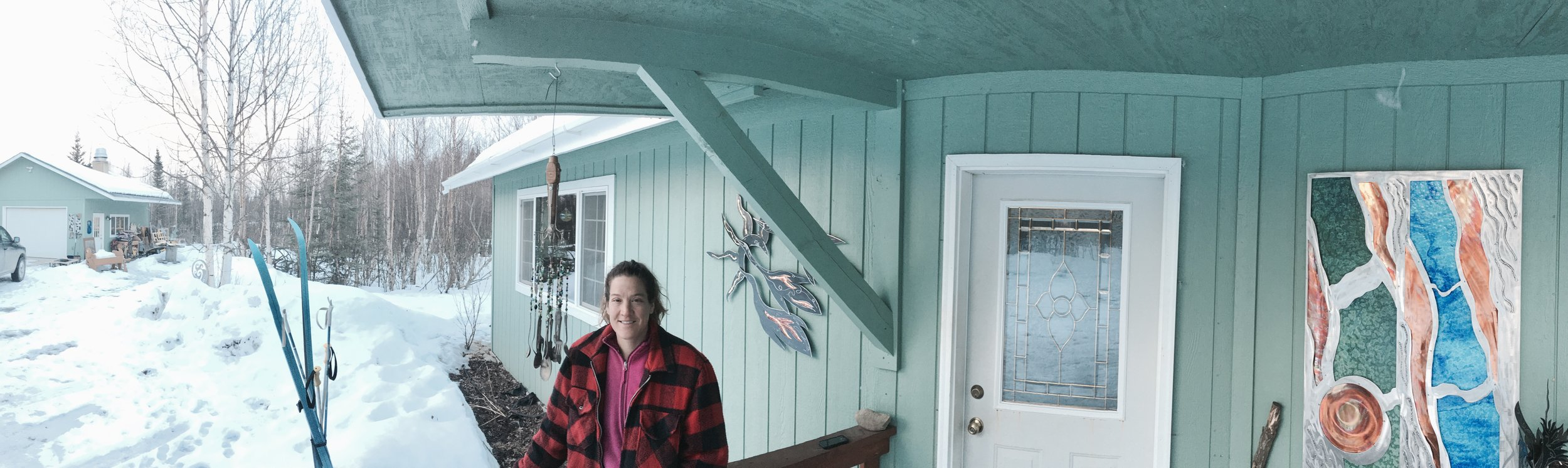 Holly Gittlein works in her studio, just outside her home in Wasilla, AK.