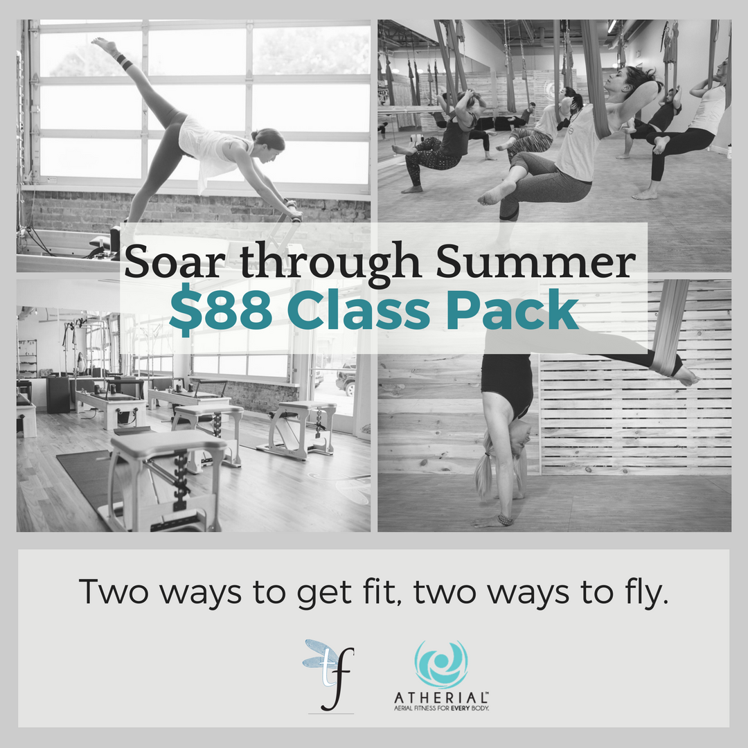 Atherial + TerraFly: Soar through Summer!  There is still time to purchase.    4 TerraFly Group Classes + 4 Atherial Group Classes for just $88  To purchase your package, email reba@atherailfitness.com  Good for use in August! Package expires 8/31/17