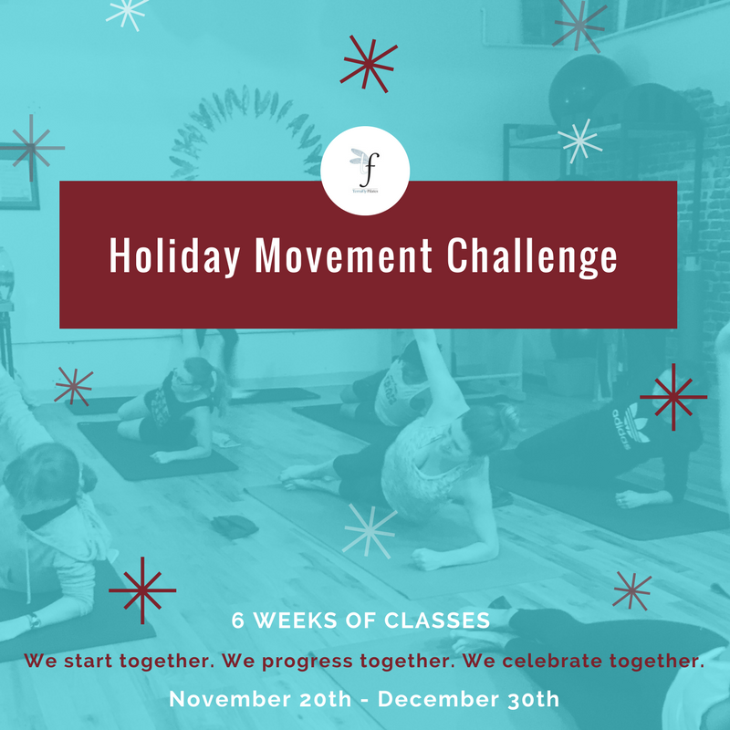 """Get your spot in our 6-week challenge that will keep you sweating through the rest of 2017!    November 20th – December 30th    Winter is coming… and while we can't do anything about the wind chill, or hectic holiday schedules, we can offer you a fun, holiday challenge to help you stick to your fitness goals through the end of the year.  The TFly Holiday Movement Challenge is a customized 6-week program, scheduled in advance to encourage routine, commitment and accountability!  6 weeks of classes – 6 different movement themes to count us down to the chilly season.  We start together. We progress together. We celebrate together.   The TFly Holiday Movement Challenge also includes:   ·TFly Holiday Movement Challenge Calendar & essential exercises packet  ·Weekly movement themes, articles, tips & videos through a private Facebook group to help you deepen your practice and get the most out of your Pilates sessions  ·""""A Celebration of your Success"""" in Jan 2018 with a fun filled evening and TerraFly Pilates prizes!    Choose your level of commitment:    6 classes in 6 weeks - $120 ($20 per class)  12 classes in 6 weeks - $210 ($17 per class)  18 classes in 6 weeks - $270 ($15 per class)   Sign up by Monday November 20th!"""