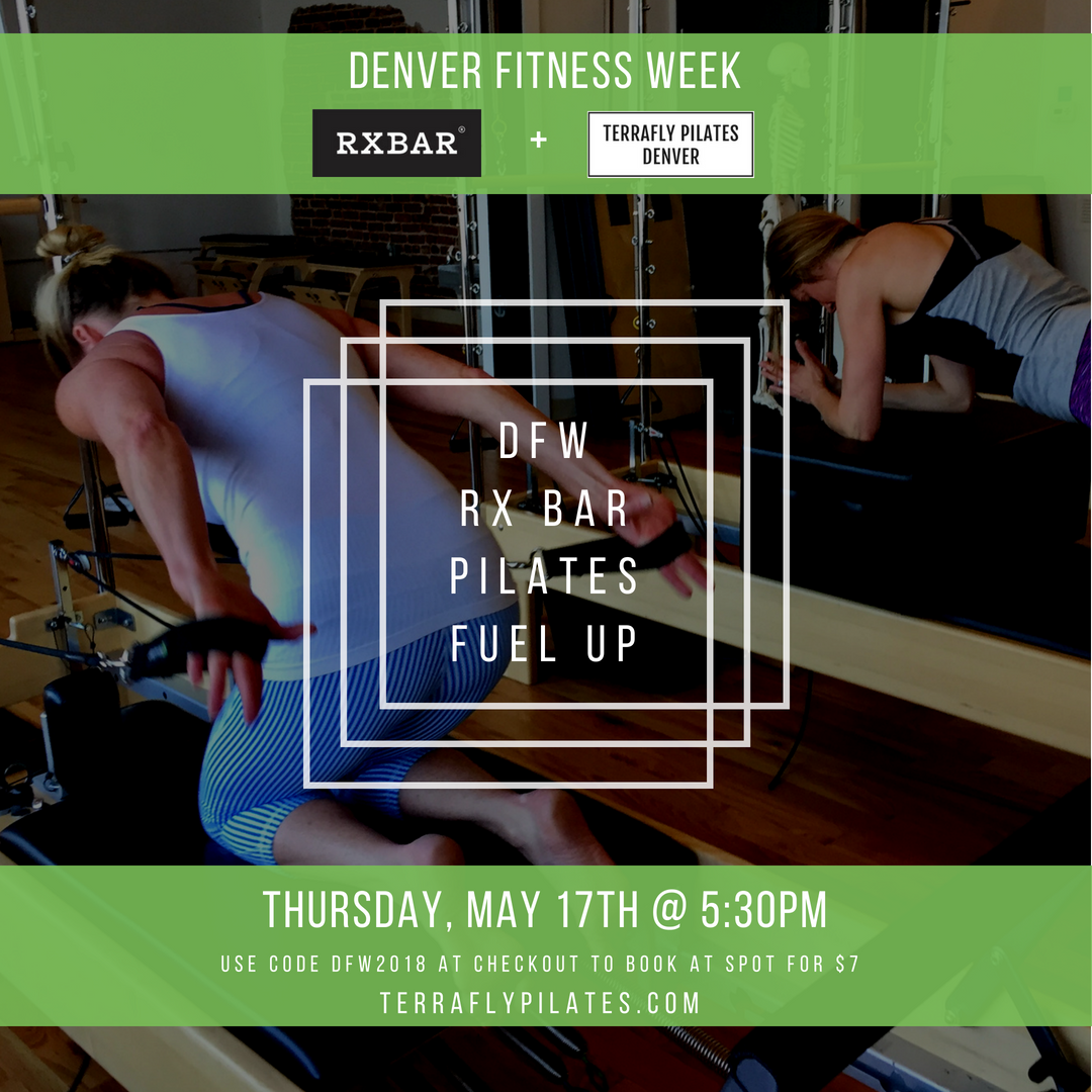 Join us this  Thursday, May 17th at 5:30  for a special Denver Fitness Week Combo class and fuel up with free a RXBAR before or after class! Sign up  here  using promo code 'DFW2018' for only $7!