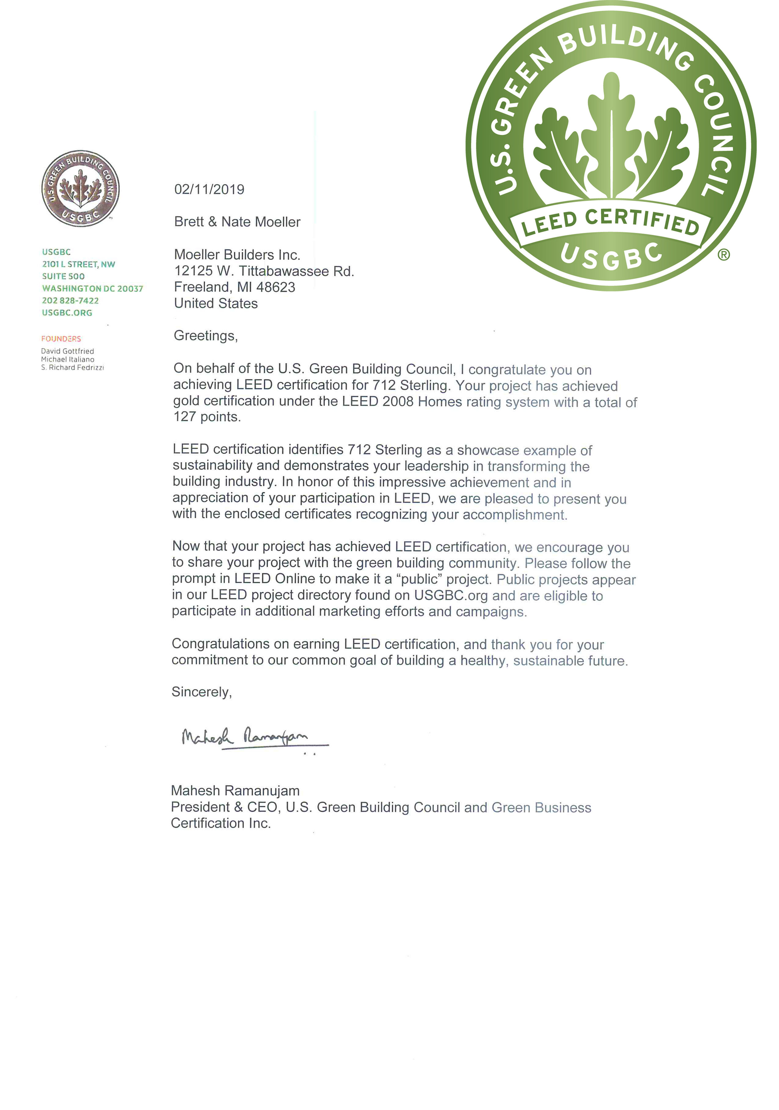 Moeller Obtains LEED Certification - We're proud to accomplish this milestone and look forward to helping you realize your dream green build.