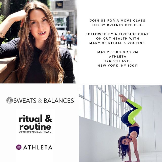 NYC BABES- only 4 more tickets left for TOMORROW (5/21) night's @sweatsandbalances event @athletanyc : a move class with @bbyfield and then a fireside chat with YOURS TRULY. I'm going to be talking  GUT HEALTH and DIGESTION: how to heal and support your gut. I'm going to outline tools, guidelines, and hot tips you won't find anywhere else⚡️🔥!! You don't want to miss this👉🏼 see link in bio for tickets!! • • • • • #nycwellness #sweatsandbalances #ritualandroutine #ritual #routine #healthevent  #wellnessevent #health #wellnessnyc #nycfitfam #healthcoach #iinhealthcoach #iin #digestion #guthealth #mindbodygram #iamwellandgood