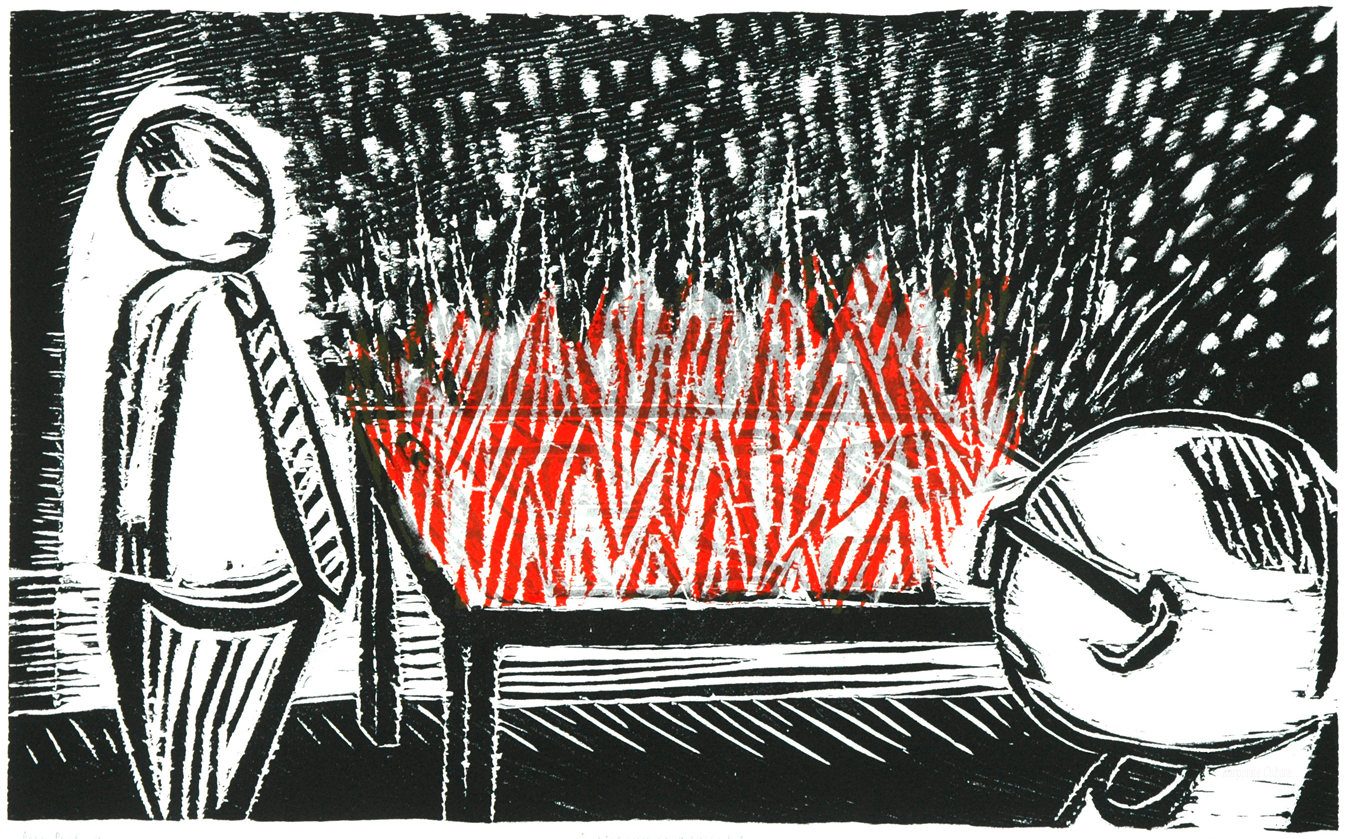 I wish my desk would catch fire  - Color Woodcut