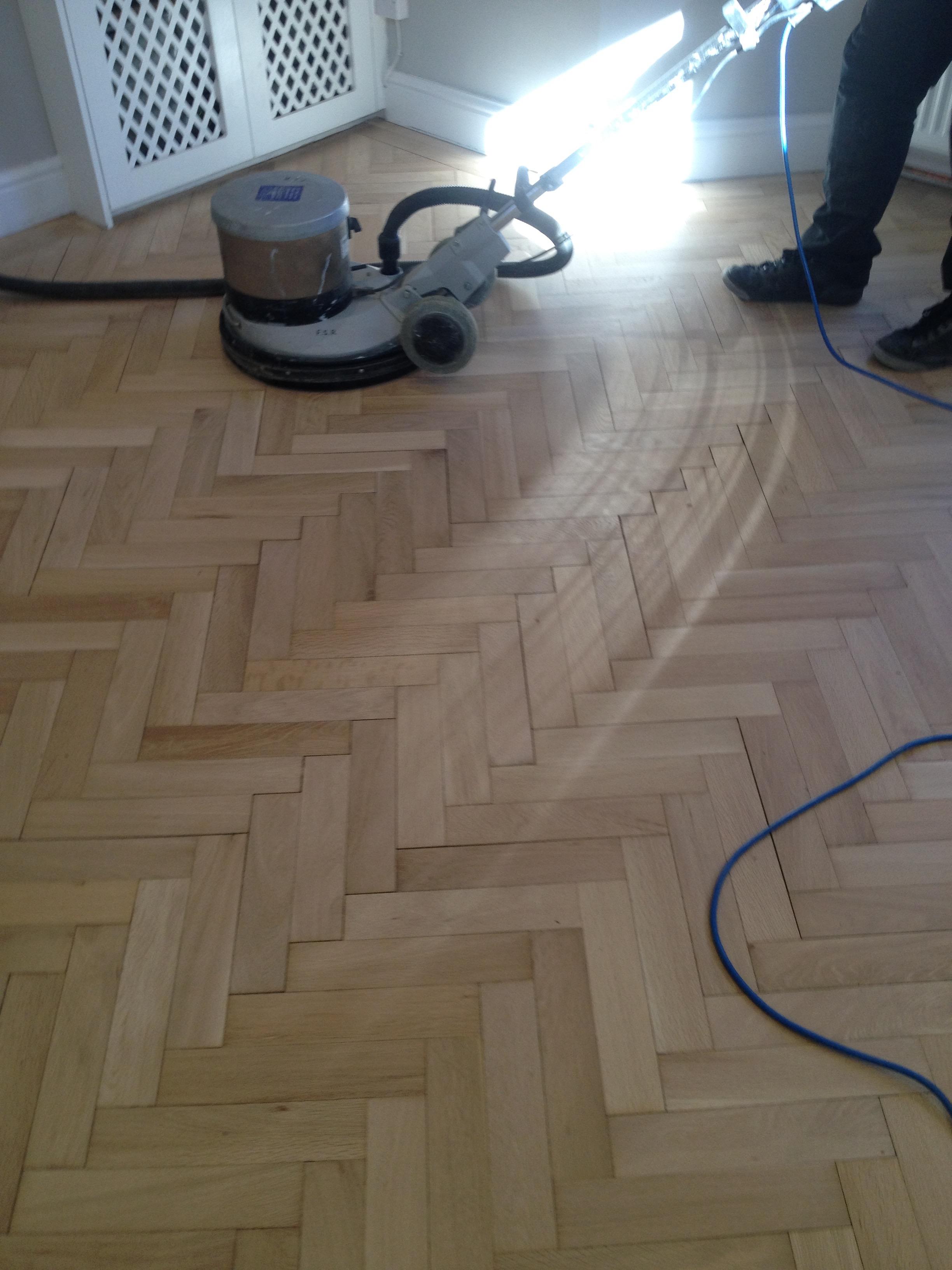 sanding oak parquet herringbone floors