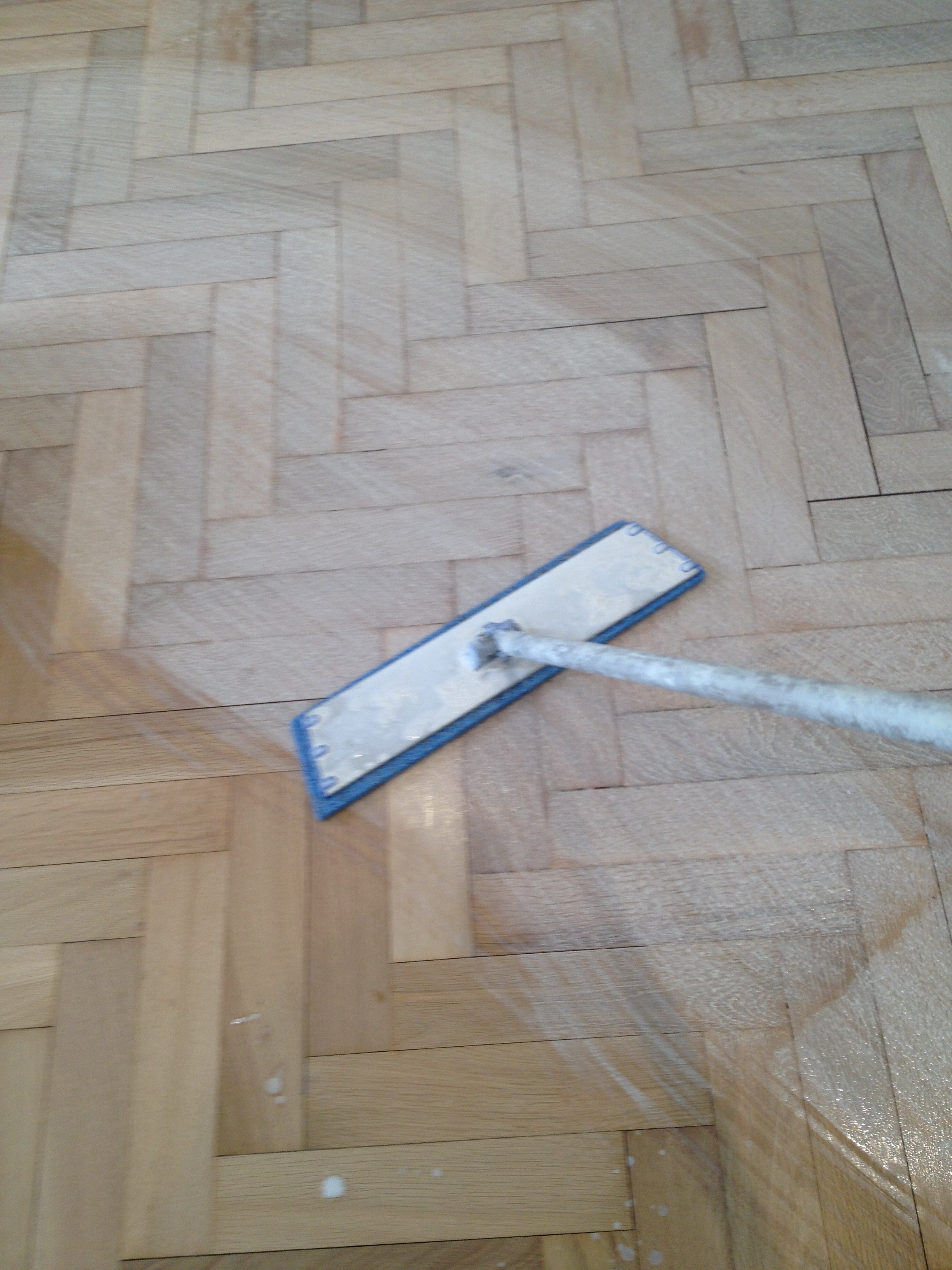 application of lye on oak parquet