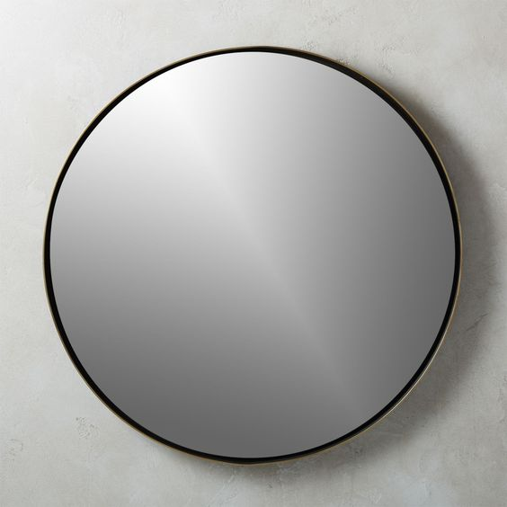 "Shadow Circle Mirror (CB2)   32.5"" wall mirror. $199."
