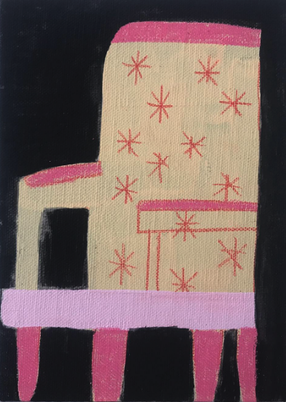 "Chair on black  Black gesso , acrylic paint, gouache and colored pencil on canvas board  3""x4""  2017"