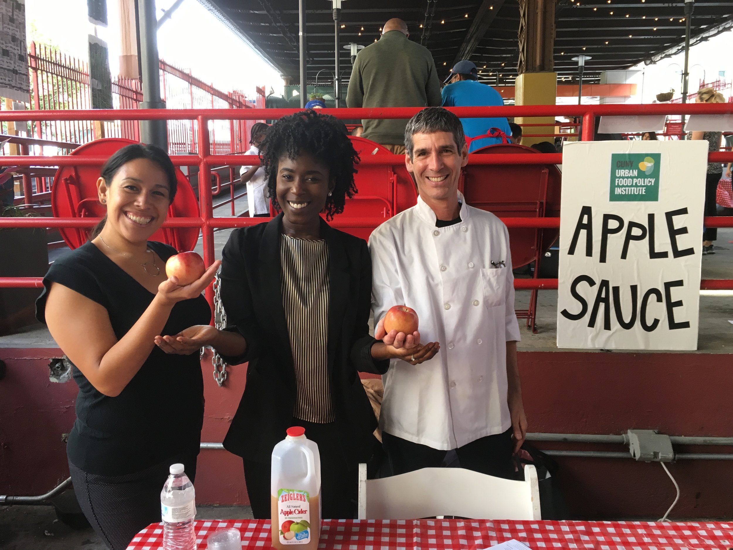 CUNY Urban Food Policy Institute staffers, from left: Sarah Garza, Charita Johnson, and Lorne Feldman