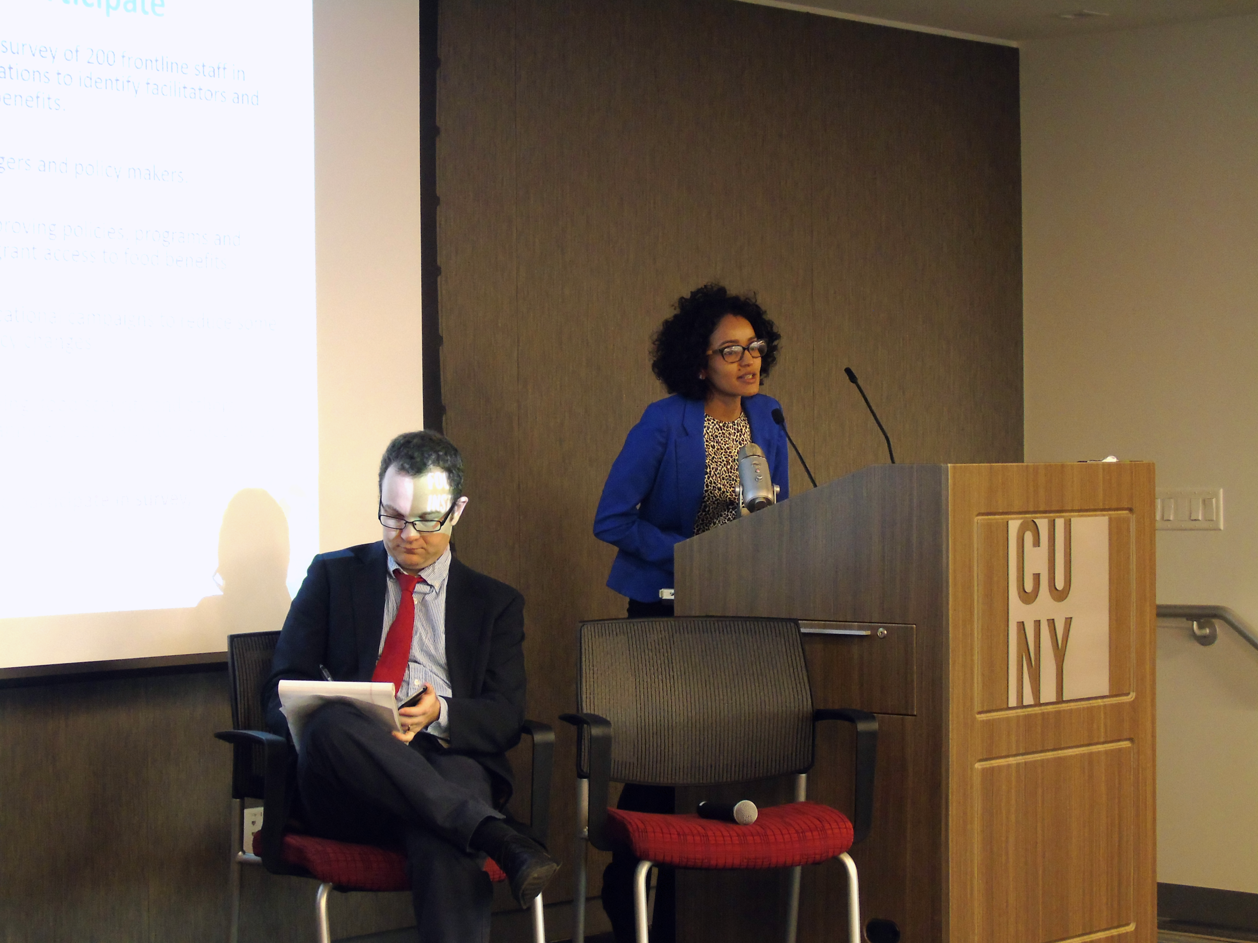 CUNY Urban Food Policy Institute Researcher Anabel Perez-Jimenez addresses the audience at the forum on November 17, 2016.