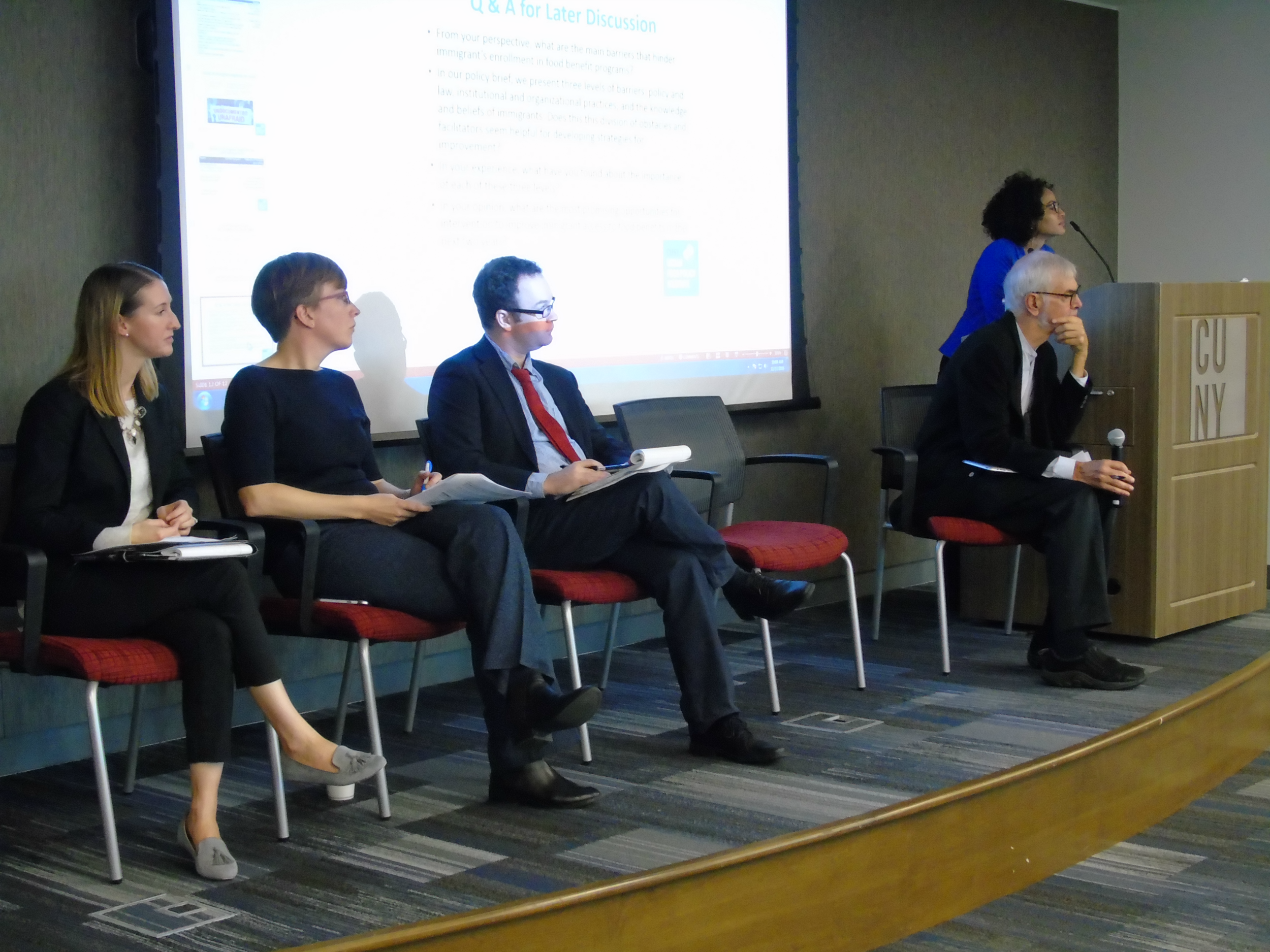Panelists, from left: Jessica Hughson-Andrade, Metropolitan Council on Jewish Poverty; Els de Graauw, Baruch College, CUNY; Sam Solomon, NYC Mayor's Office of Immigrant Affairs. Nicholas Freudenberg and Anabel Perez-Jimenez moderate.