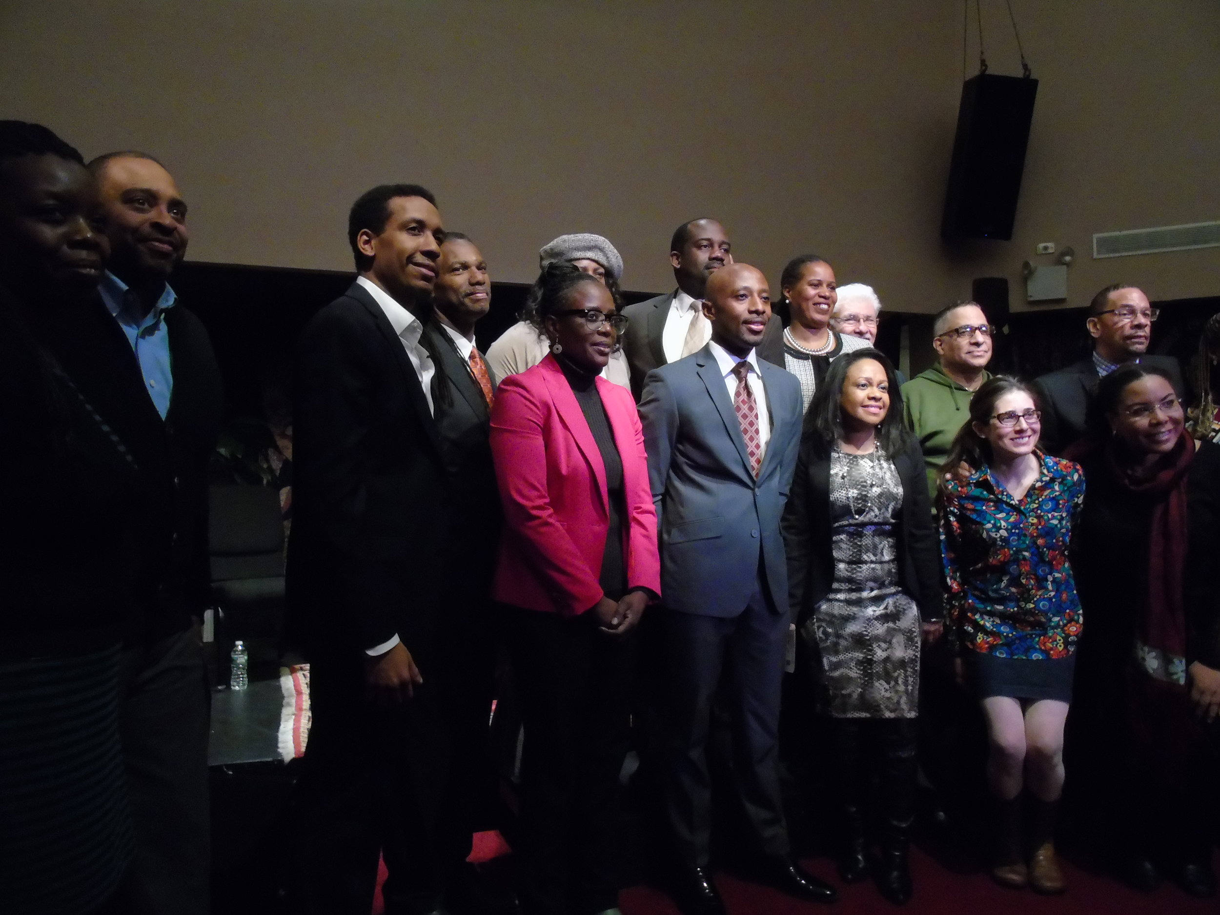 New York City Council District 9 candidates pose for a photo with forum organizers, September 7, 2017.