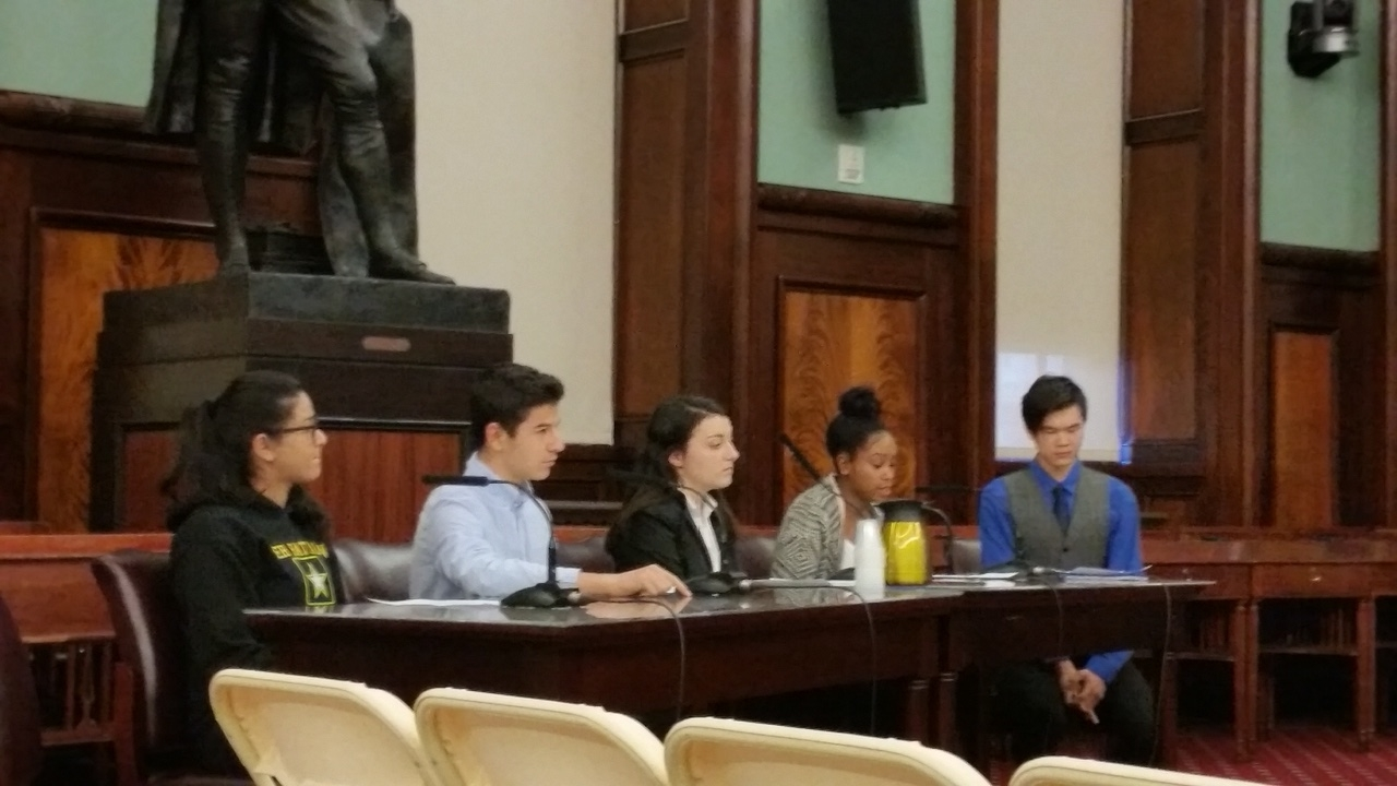 Youth advocates presenting testimony at a City Council budget hearing on March 21, 2017.