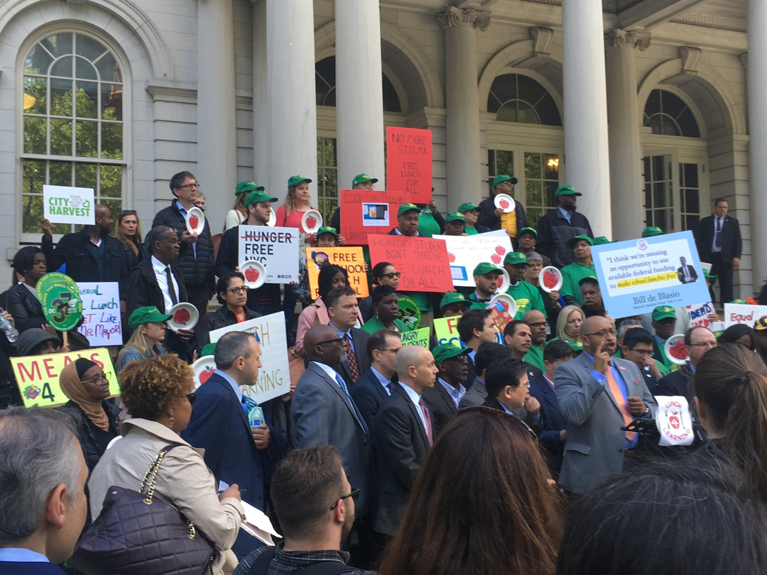 Elected officials, union leaders, parents, students and teachers held a rally at New York City Hall on May 15, 2017 in support of the Lunch for Learning Campaign.