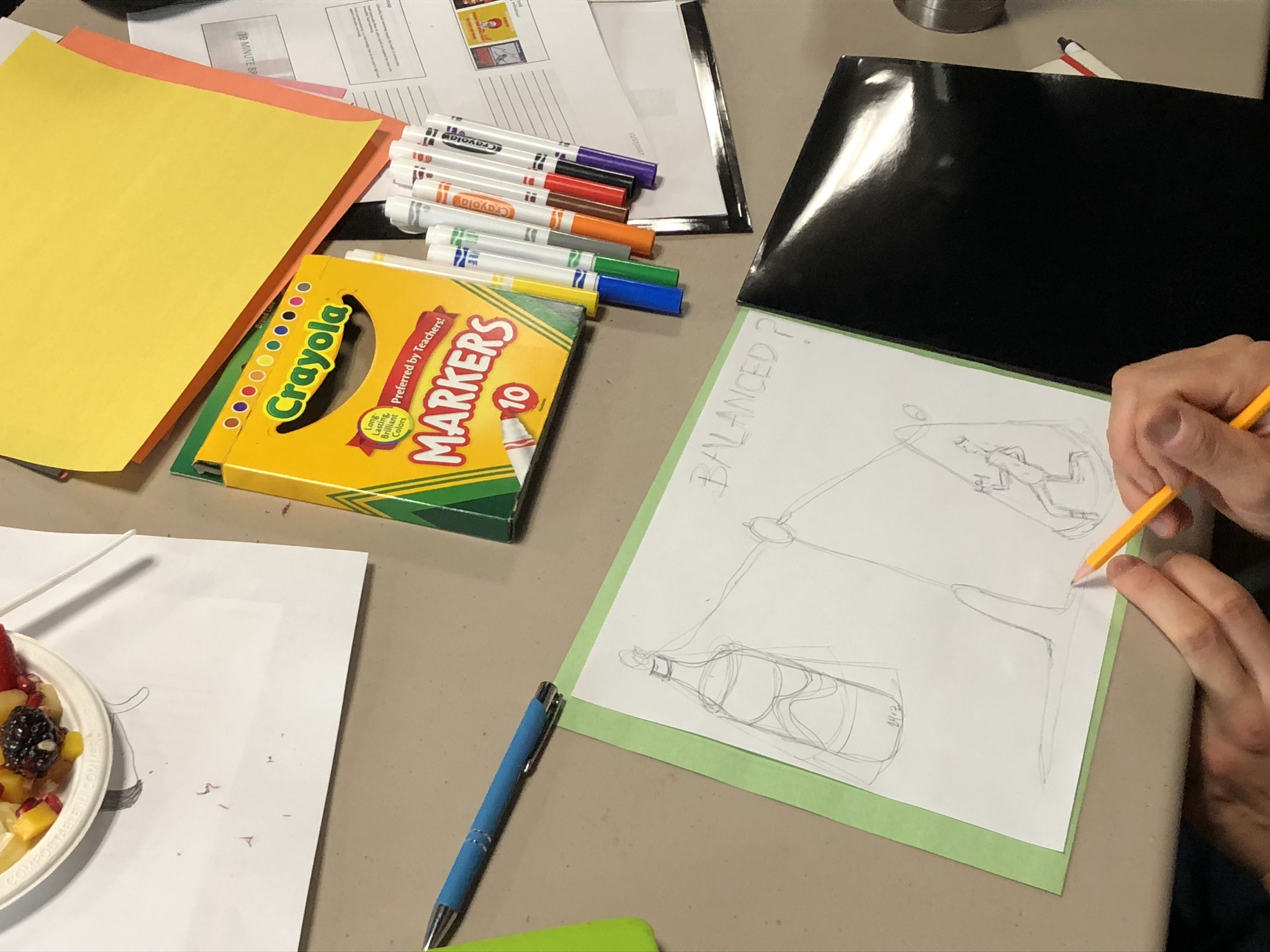 Participants from the Countermarketing Staff Training Program creating a countermarketing image against sugary beverages.