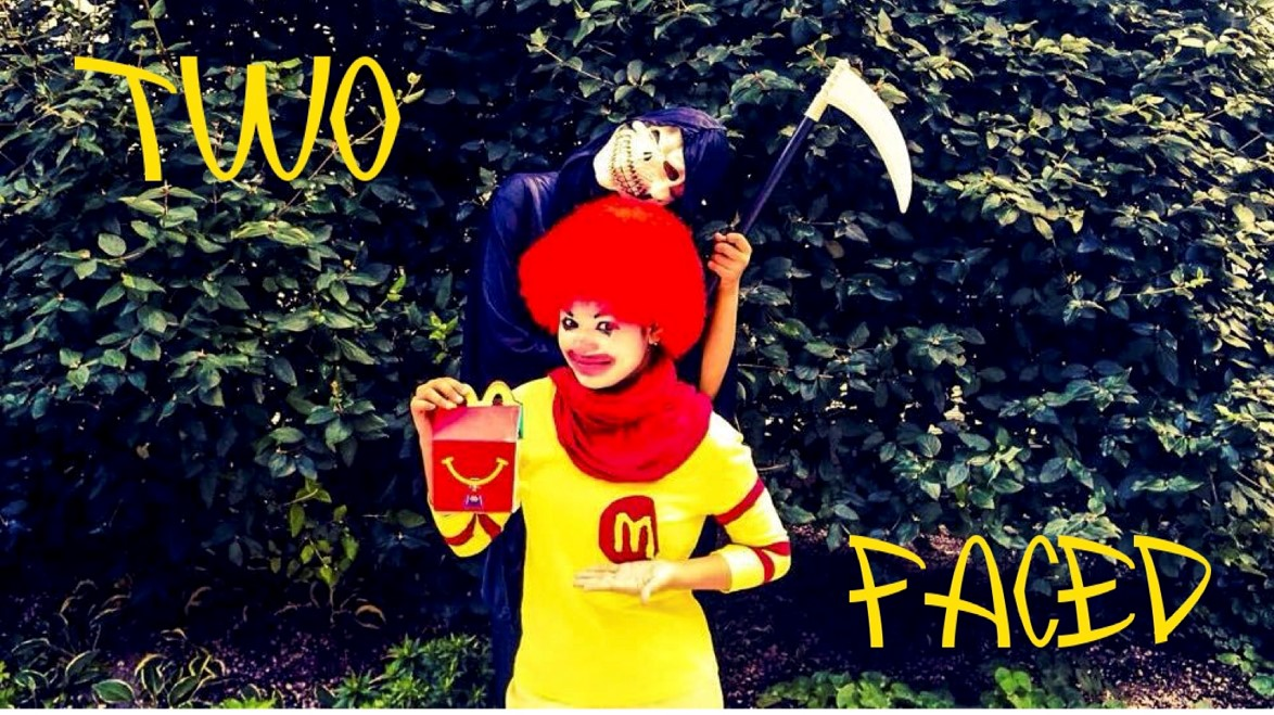 """Image developed by Youth Food Educators students for their campaign """"Two Faced"""" which exposed the two sides of Ronald McDonald - the happy, friendly, clown, and the deceptive, scary grim reaper that encourages children to eat unhealthy McDonald's."""