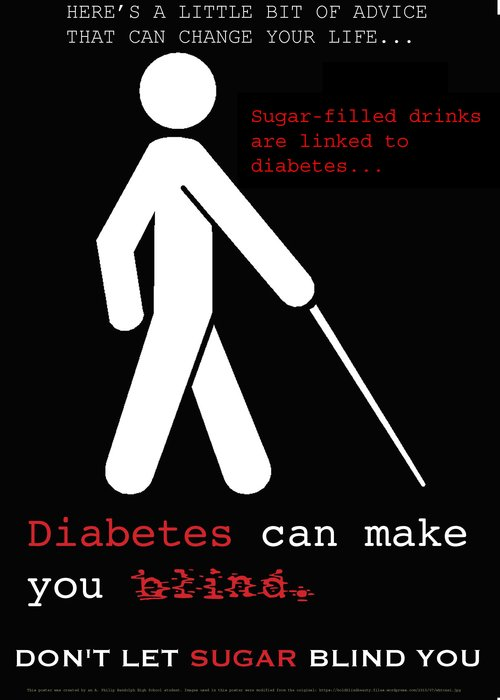 Image created by a student from A. Philip Randolph High School that targets sugary beverages and discusses the link between sugary beverage intake, diabetes, and blindness.