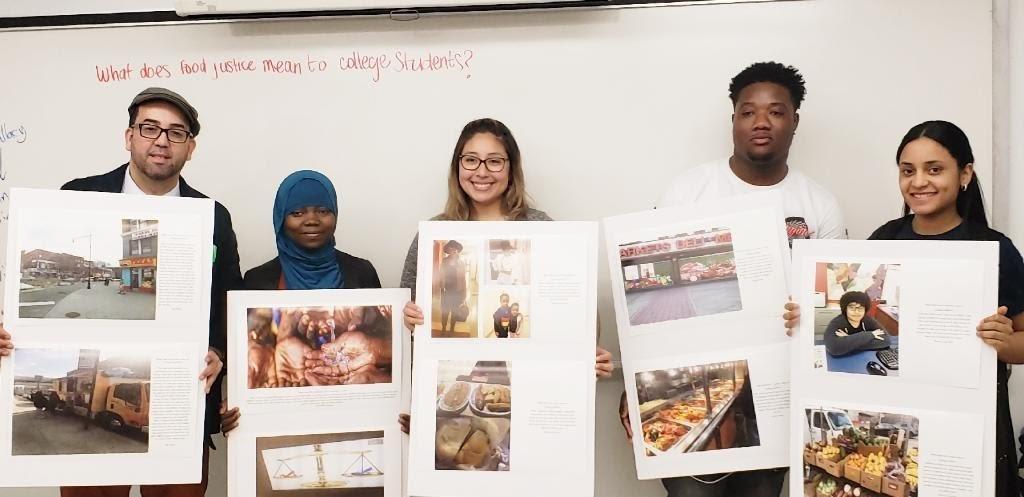 Figure 8. (left to right) Student Advocates Joel Rivera, Namizata Kamagate, Lazare Dada, and Arlenny Cruz, accompanied by CUNY Urban Food Policy Institute Project Coordinator Kathleen Delgado (center).