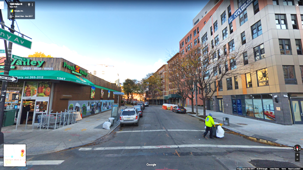 Figure 2.  FRESH project (27 Albany Avenue, Brooklyn, NY) (above) across from recently opened Fresh Valley supermarket and around the corner from another recently opened Fine Fare supermarket (below).  Source:  Google Street View