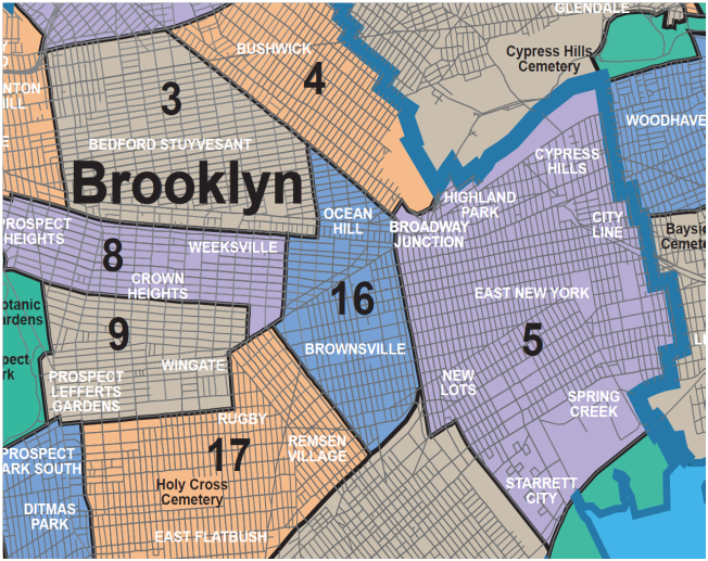 This map shows the four Community Districts described in this report: Bedford Stuyvesant (CD 3), Bushwick (CD 4), Brownsville (CD 16) and East New York (CD 5). Note that there is not a single accepted boundary for Central Brooklyn and others define its borders differently.   Source:    https://web.archive.org/web/20090306125013/http://nyc.gov/html/dcp/pdf/neighbor/neighbor.pdf