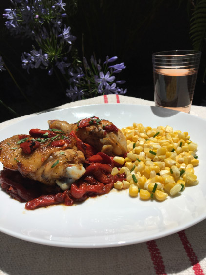CHICKEN WITH RED BELL PEPPERS