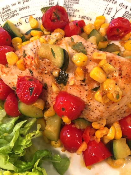 Chicken Breast Skillet Supper with Confetti Vegetables