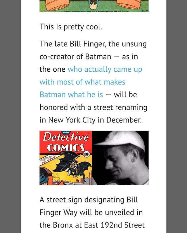 This makes me smile.  It's about time Bill gets all the recognition he deserves.  Also @edmedart and I can finally put that website domain we bought to good use  #billfinger #batman #hkc #jedicoleuniverse #comic #comicbooks #comicbook #podcasters #podcast #podcasts #podernfamily