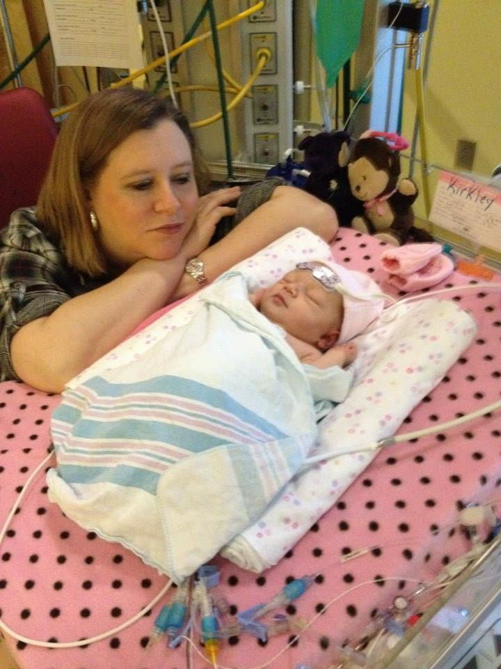 Mom, Natalie, with Abby during one of their many days spent at Children's Healthcare of Atlanta, Egleston.