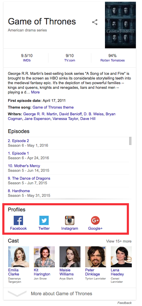 Game of Thrones Google search