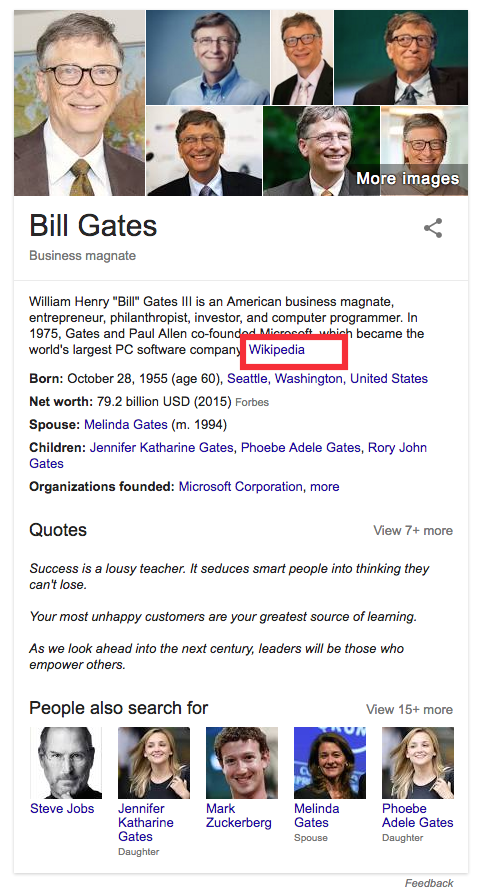 Bill Gates Google screen grab